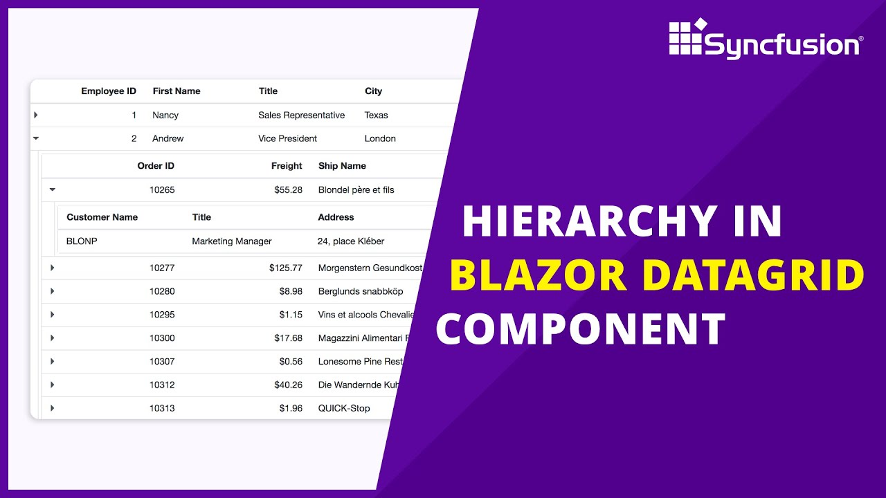 Hierarchy in the Blazor DataGrid Component