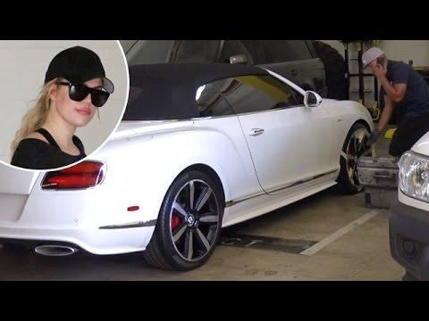 EXCLUSIVE - Khloe Kardashian Banged Up Her Bentley!