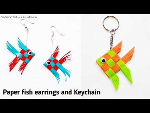How To Make Handmade Earrings With Paper And Keychain ? | Woven Paper Fish
