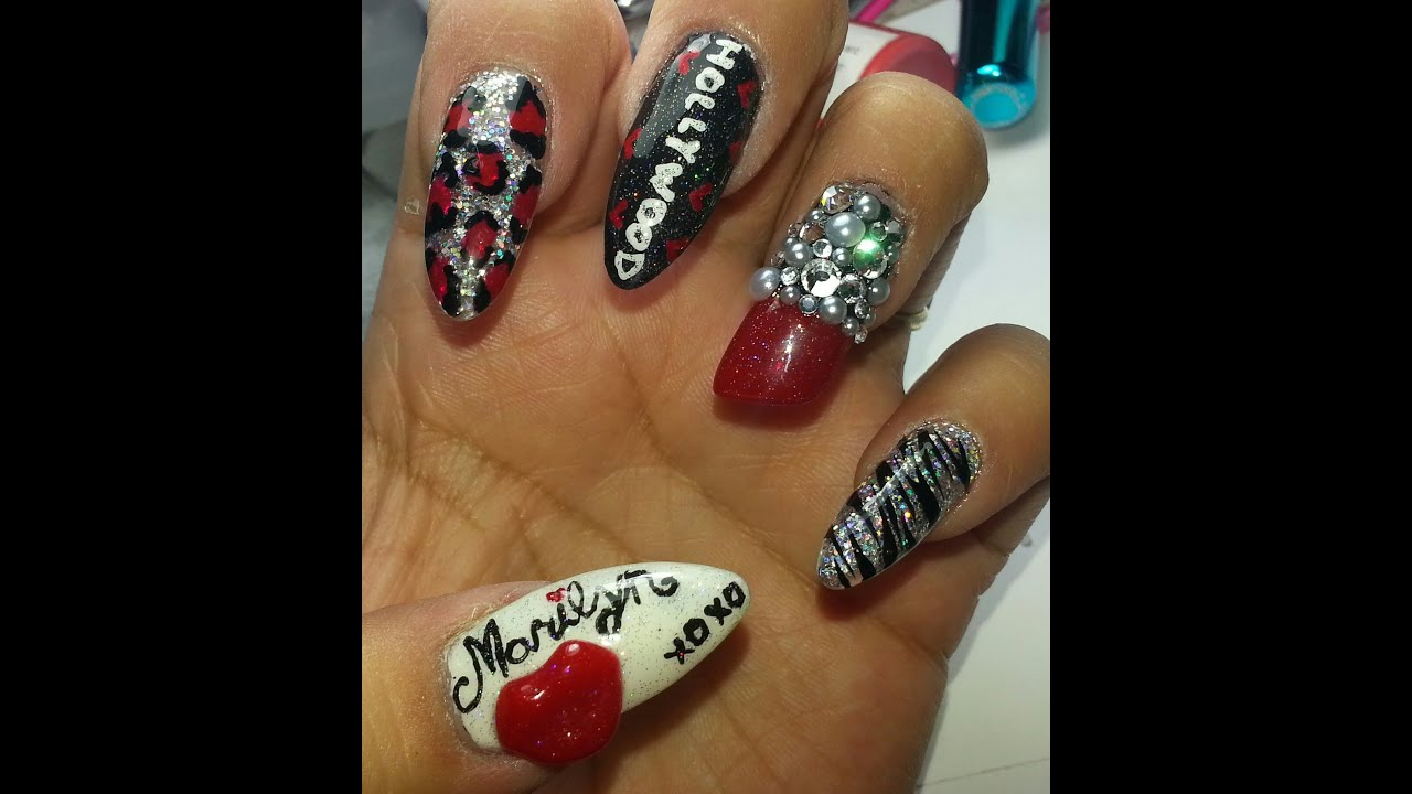 Marilyn Monroe Nail Art Tutorial Entry For Rooie73\'s Contest - YouTube