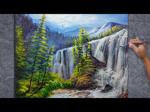 Step by step Easy Waterfall Landscape Painting Tutorial for Beginners / Fine Art Techniques