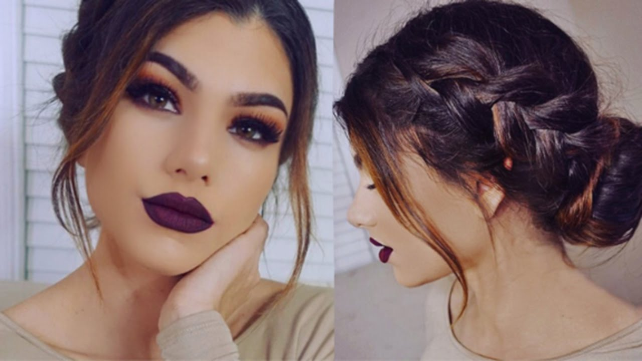 Full Coverage DARK Makeup Tutorial! + Romantic Braid Bun ...