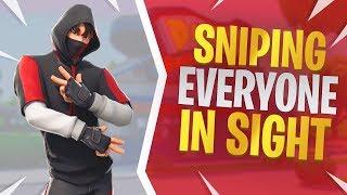 Sniping Everyone in Sight - Fortnite iKONIK Skin Gameplay