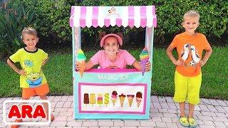 فلاد وماما يلعبون في محل المثلجات