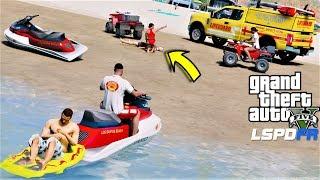 GTA 5 Mod Lifeguard Saves Victim Drowning At The Beach With Jetski & ATV (Coastal Callouts Baywatch)
