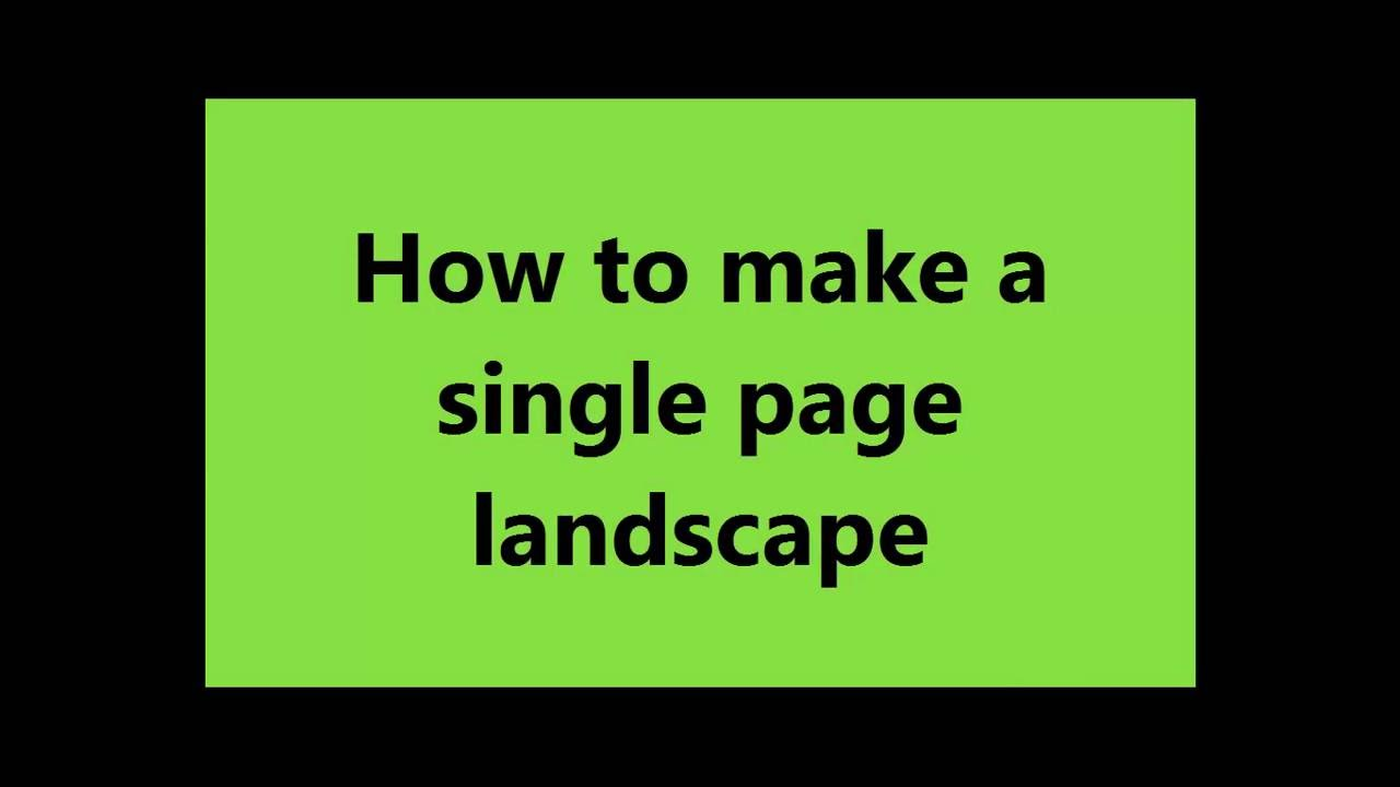 word how to change only one page to landscape