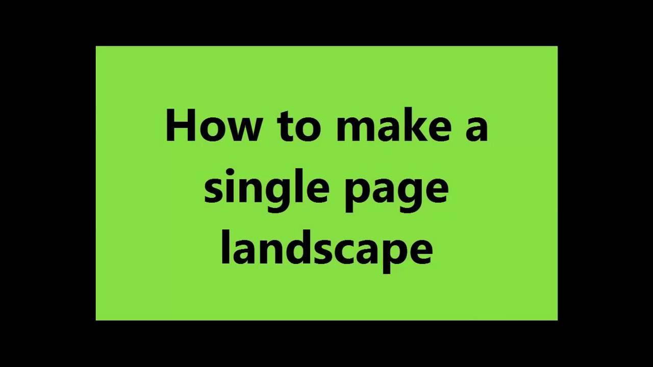 make page landscape
