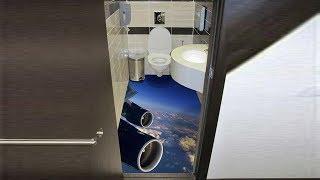 Самолет сбрасывает туалет