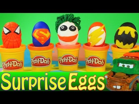 Play Doh Surprise Eggs Superhero Kinder Surprise Batman Joker Superman Spiderman Flash Cars 2 Toys
