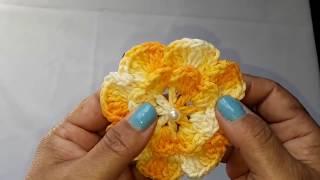 Flor Milena de crochê fácil para aplicação -com Elizabeth Silva