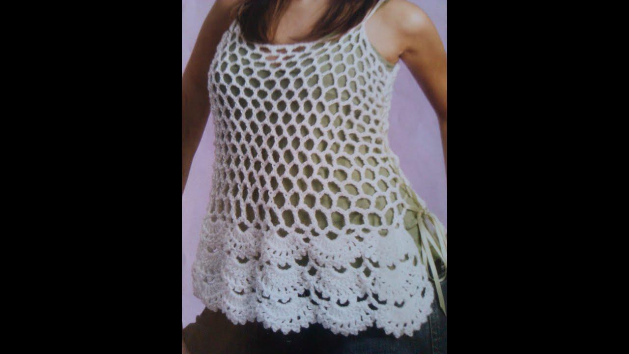 Crochet floral edge Cami - Tank Top Part 1 - Yolanda Soto Lopez ...