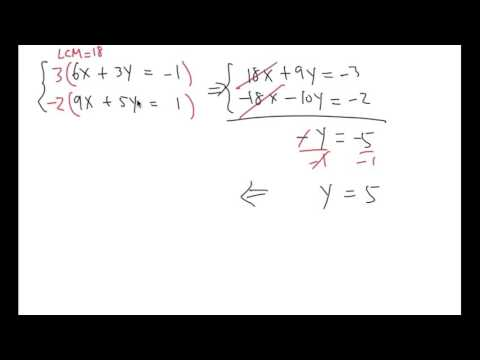 Solve a system of equations! Elimination method, (LCM method