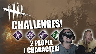 2 PEOPLE 1 CHARACTER with my GF | Dead By Daylight CHALLENGES