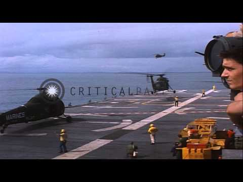 US UH-34D helicopter takes off from a US ship in Vietnam during Operation Double ...HD Stock Footage