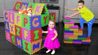 Vania and Mania save the Little Kitten | Babies build a house and stairs with Lego