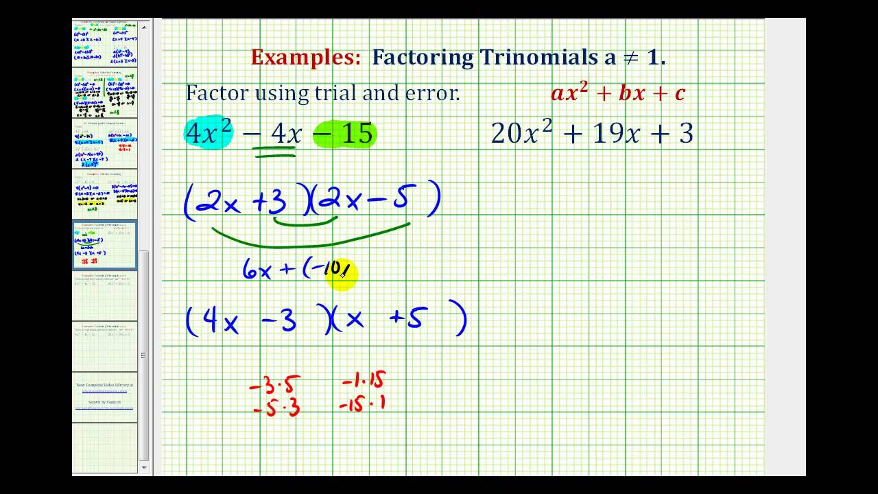 Factoring Trinomials by Trial and Error (Unfoiling) (solutions With Regard To Factoring Ax2 Bx C Worksheet