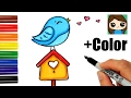 How to Draw + Color a Bird on a Birdhouse Easy