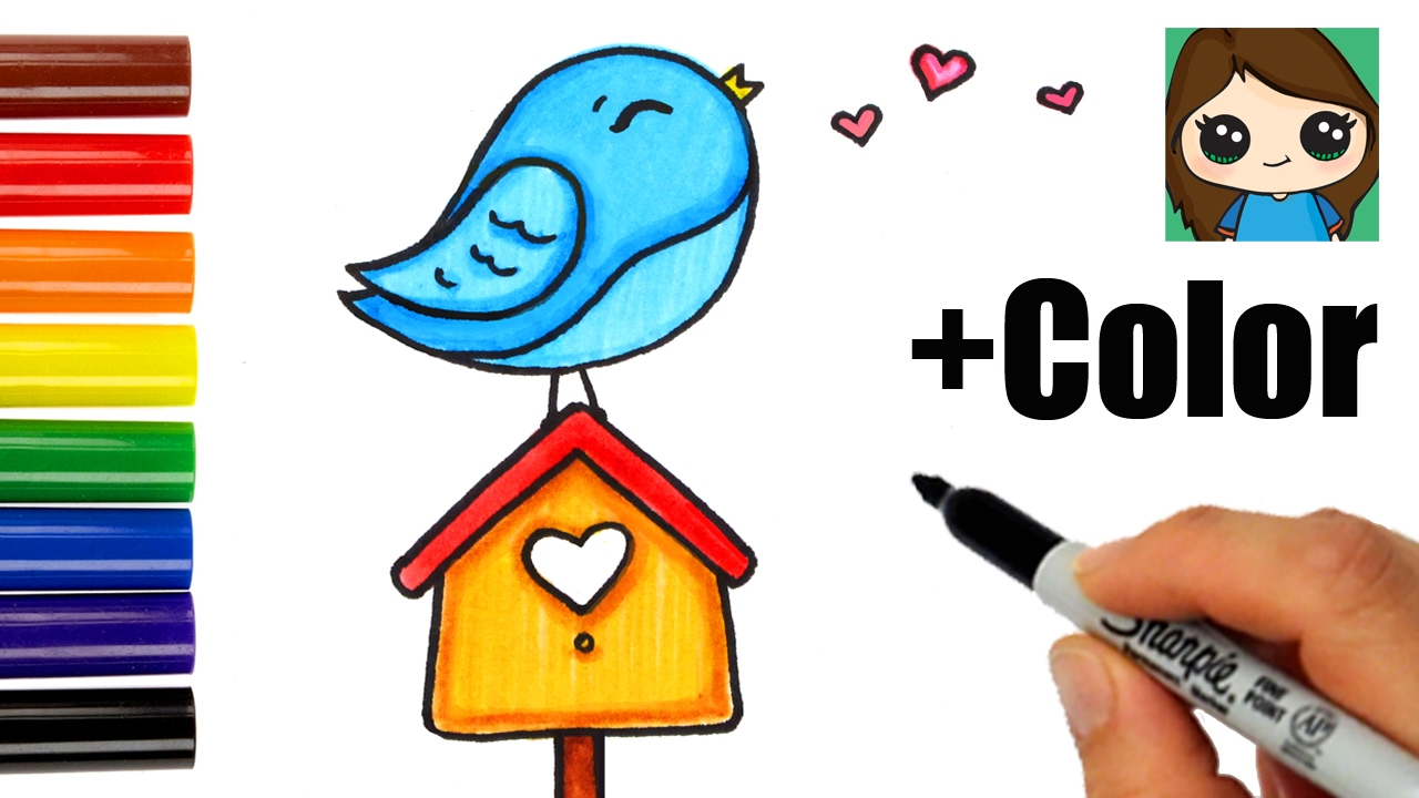 How To Draw Color A Bird On A Birdhouse Easy Youtube