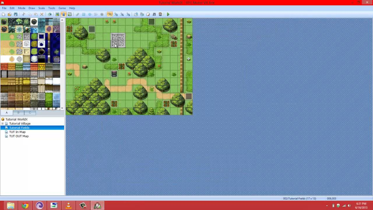 RPG Maker VX Ace Video Tutorial Snippet: #9 Variable Map X,Y Control