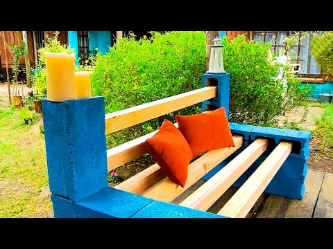 Crear un banco con madera y bloques youtube for Banco madera jardin carrefour