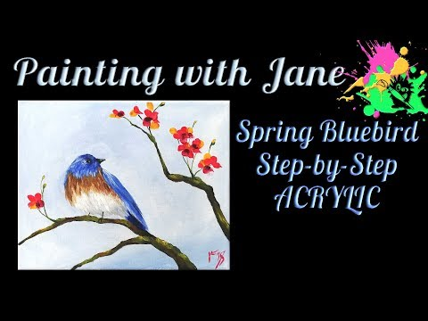 Easy Spring Bluebird for Beginners Acrylic on canvas Painting Tutorial