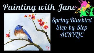 Video Easy Spring Bluebird for Beginners Acrylic on canvas Painting Tutorial download MP3, 3GP, MP4, WEBM, AVI, FLV Juni 2018