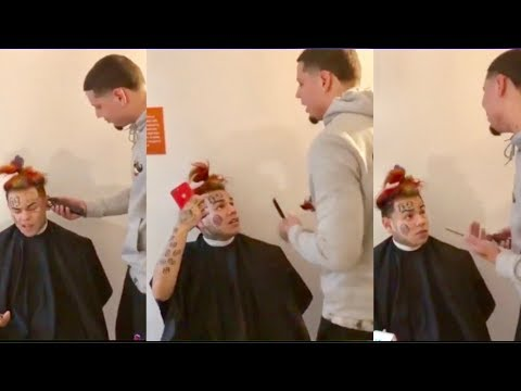 6ix9ine GOES OFF On Barber For Messing Up His Rainbow Hair Cut!