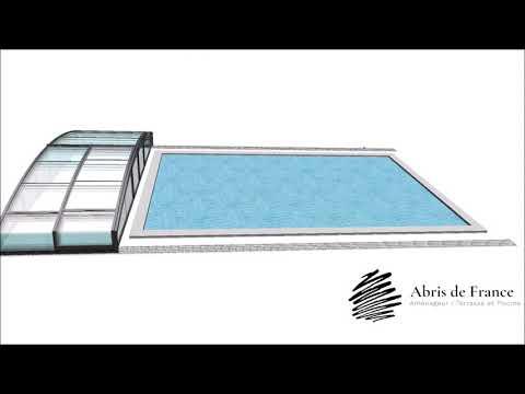 Abris de piscine coulissant bas video de fonctionnement