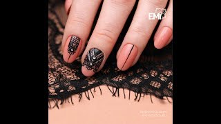 Lace over the gel polish. Master class on nail design.