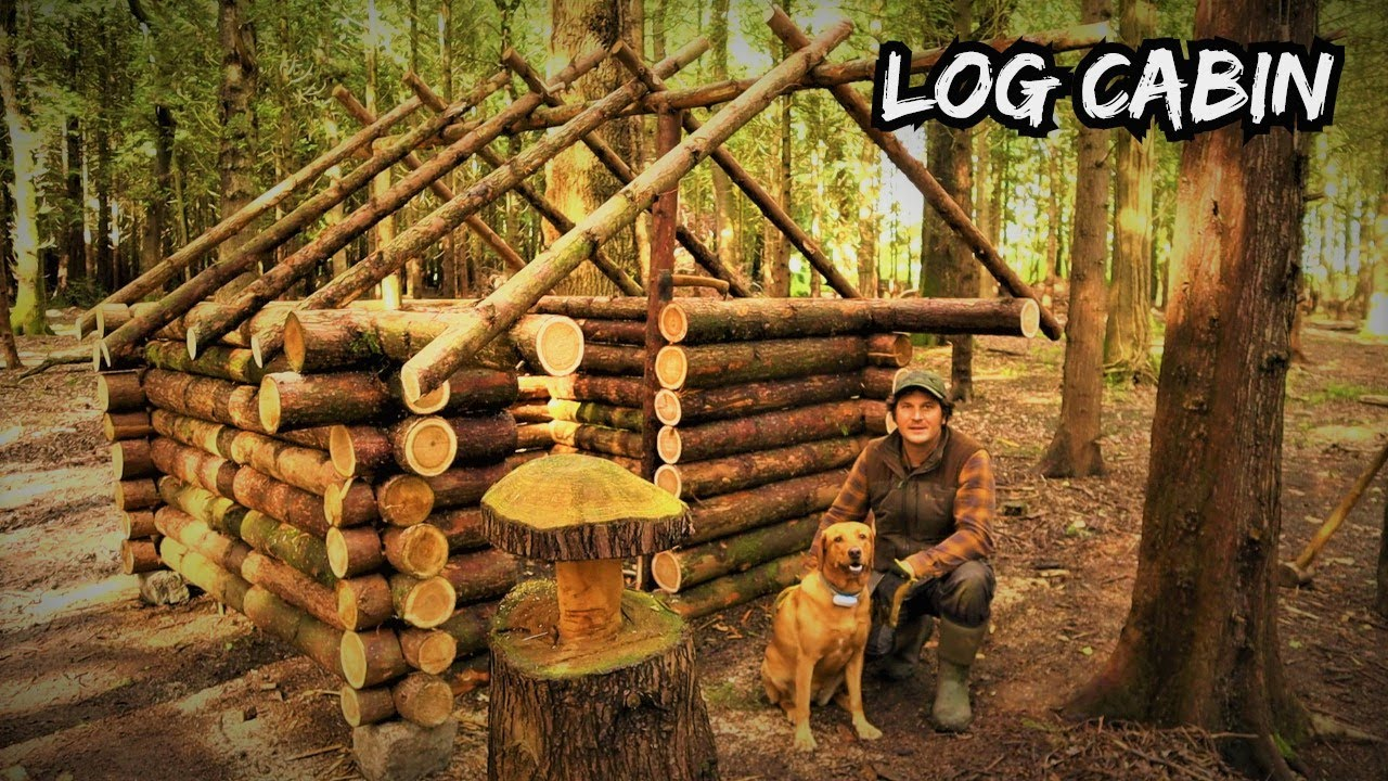 Building an Off Grid Log Cabin in a Woodland - Bushcraft Survival Project Wilderness Shelter ep2.