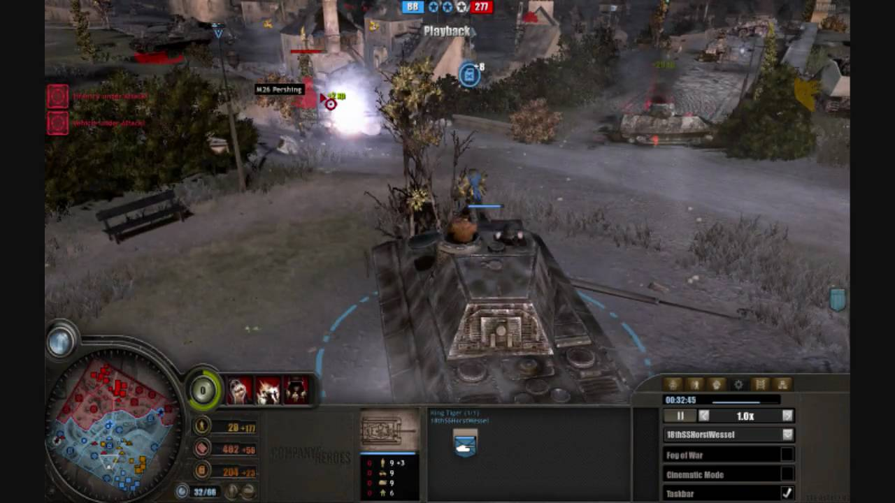 Company Of Heroes King Tiger Demolishes American Tanks M10 Tank Destroyers M26 Pershing Youtube