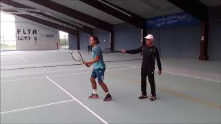 Tennis Drills - Technical Training - Correction of a high and loopy backswing at the backhand