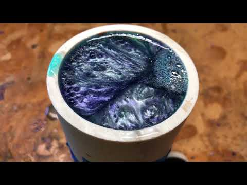 Casting 4-Color Shaving Brush Blank with Polyester Resin and Pearl Pigments