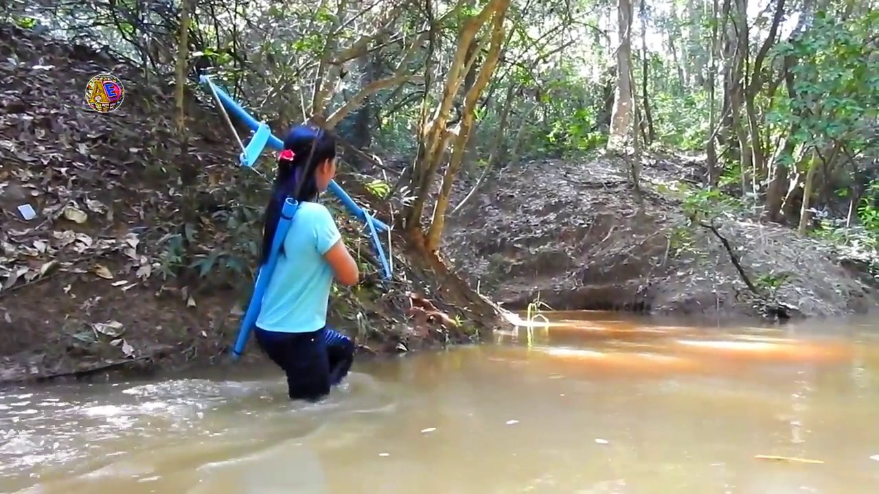 Amazing Girl Uses PVC Pipe Compound Bow - YouTube