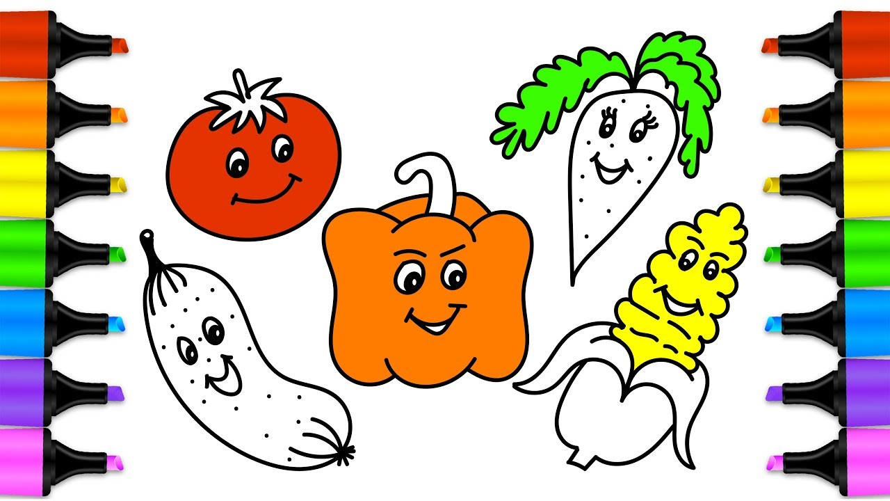 How to draw vegetables   Drawing and coloring cute ...