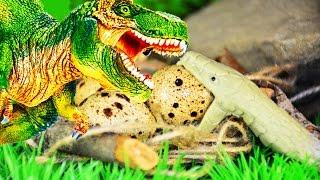 ЯЙЦА ТИРАННОЗАВРА и ЗМЕЯ. Все серии подряд. Мультфильм про динозавров для детей. Театр игрушек