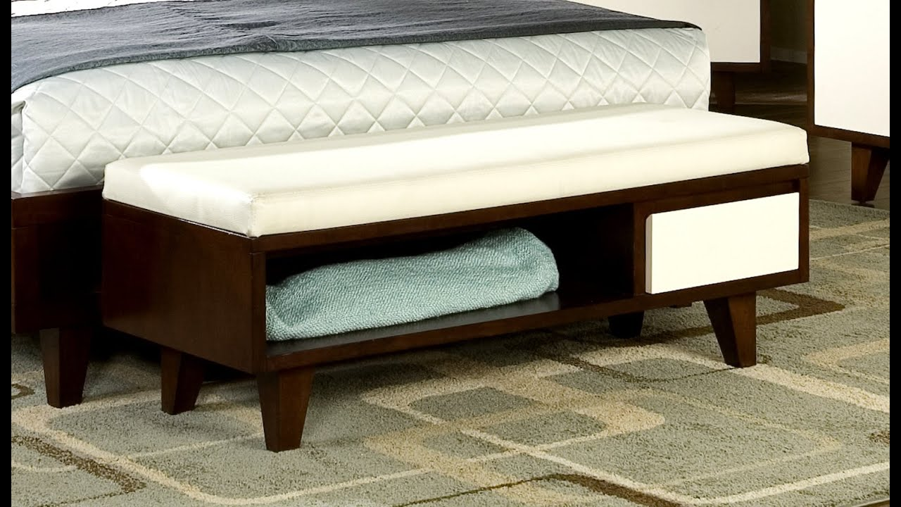 Bedroom bench youtube Bed bench storage