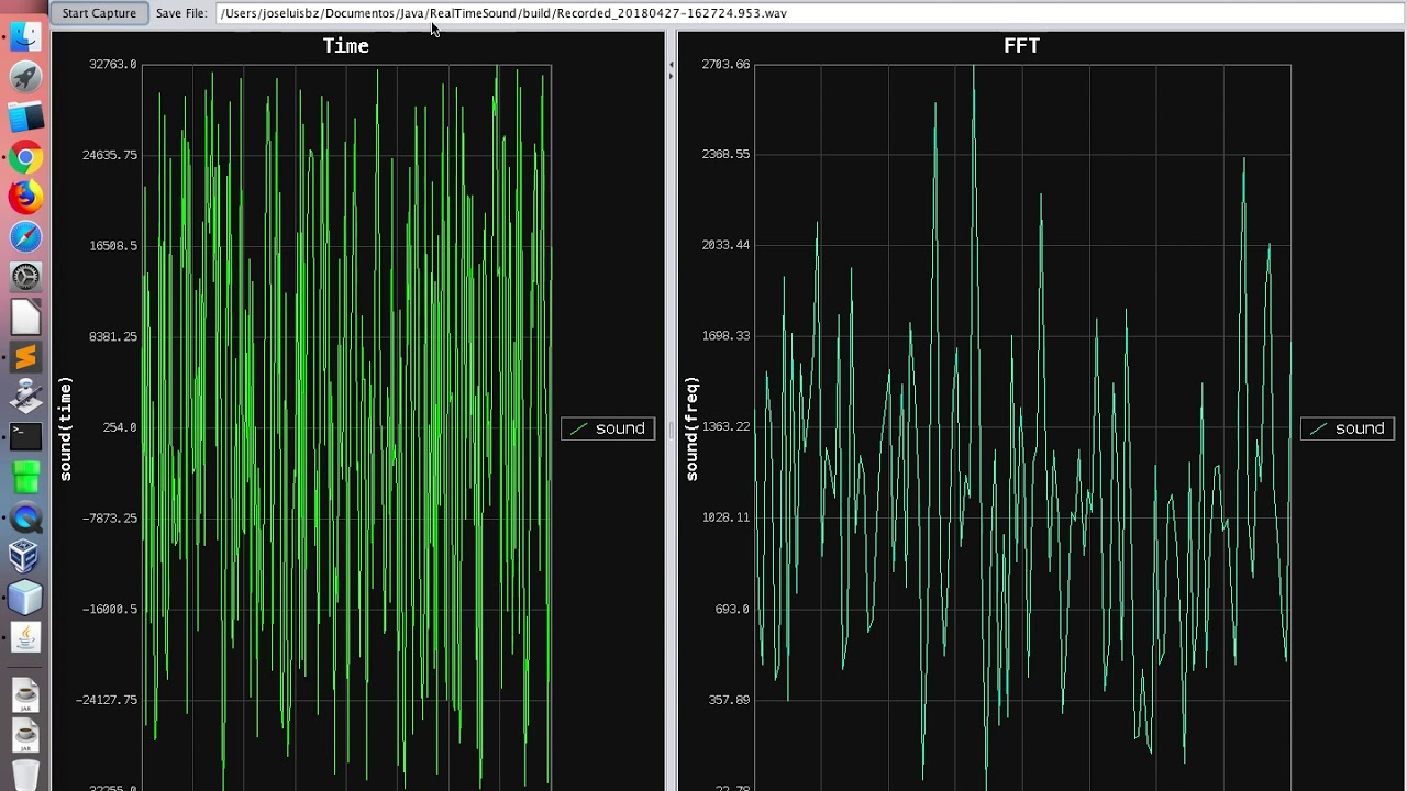 Capturing Microphone Sound, Plotting (Time and FFT) and Saving File using  Java
