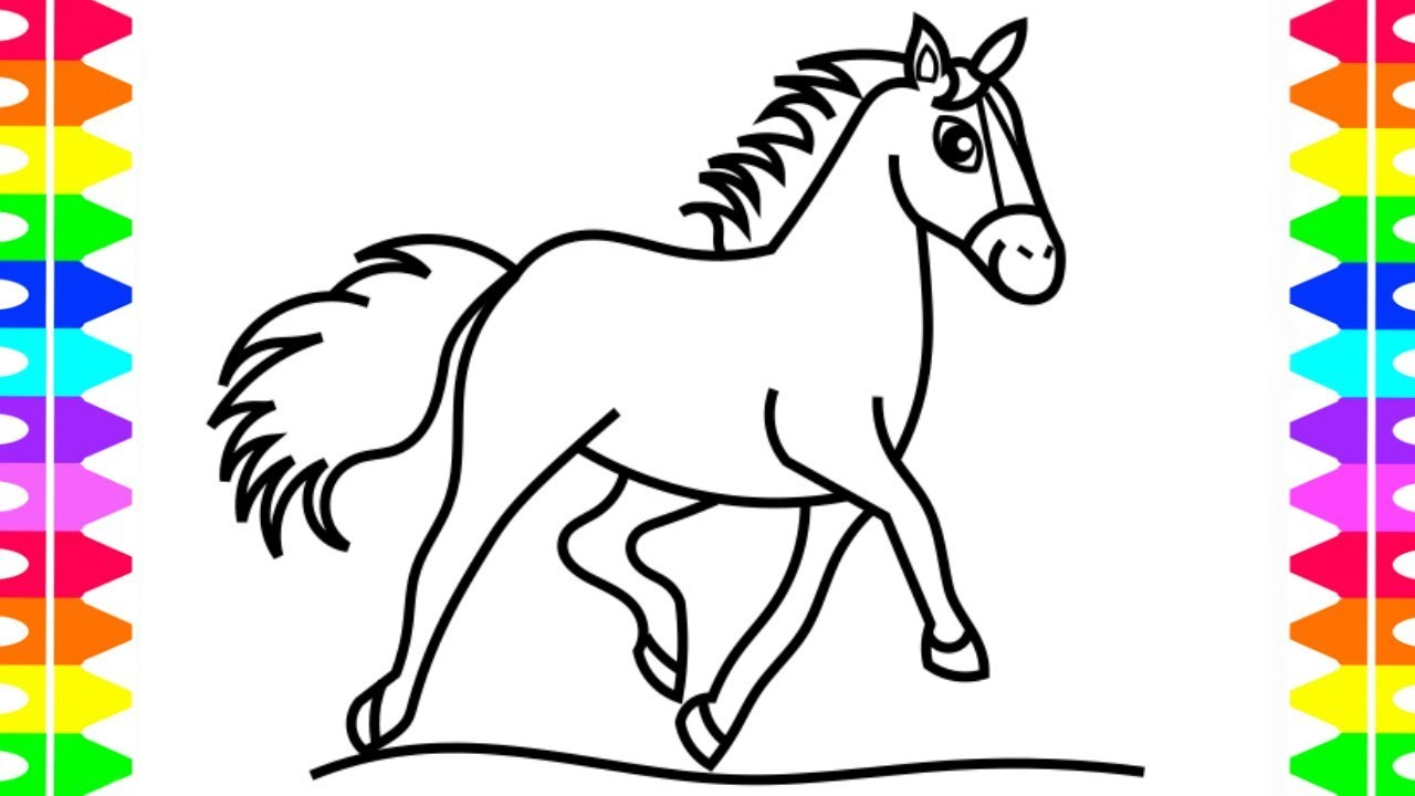 How to Draw a Pretty Horse for Kids| Horse Coloring Page ...
