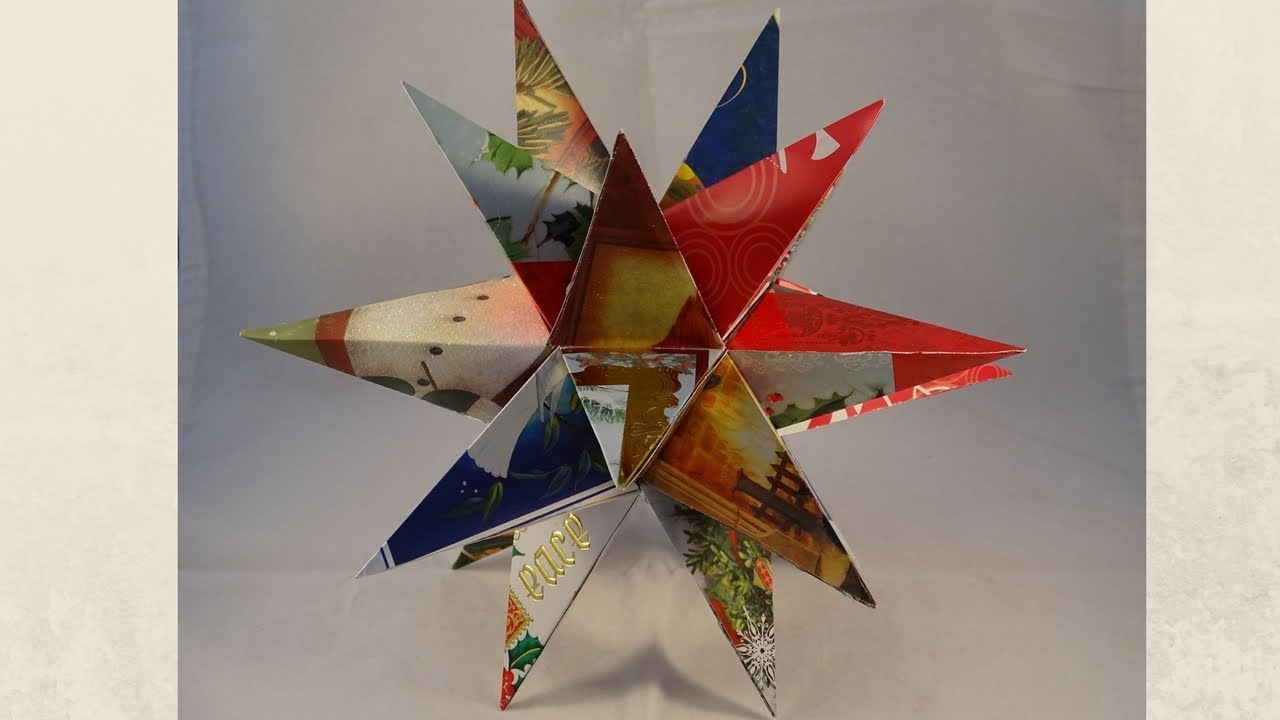 Recycled Christmas Card 3 D Star Decoration With Yoyomax12
