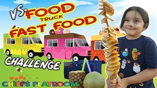 Food Challenge!! Kids vs. Food Truck Fast Foods