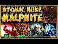 WTF! BURST DAMAGE FROM ATOMIC NUKE MALPHITE BUILD IS 100% UNFAIR! MALPHITE TOP! - League of Legends