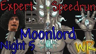 Expert MoonLord Terraria Speedrun Night 5 - 2:01:02 (WR)