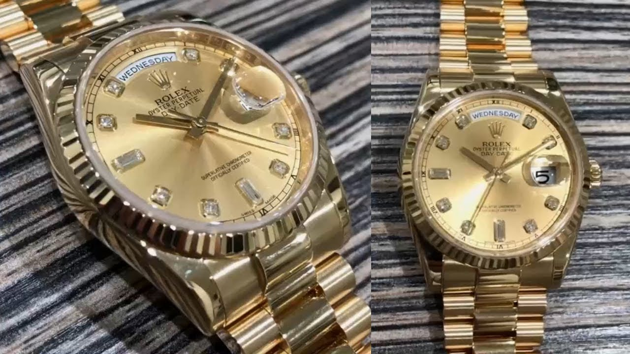 5799a636ae6 Rolex Day-Date 118238 Champagne diamond dial 36 mm yellow gold Swiss made  luxury watch