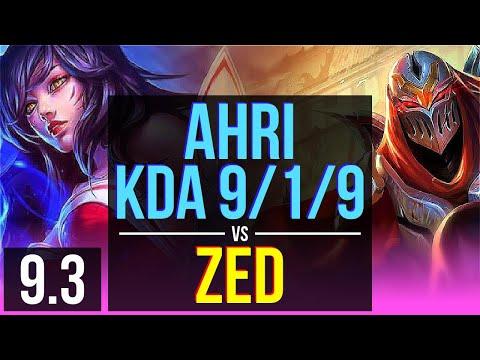 AHRI vs ZED (MID)   KDA 9/1/9, 1400+ games   BR Grandmaster   v9.3