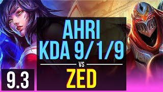 AHRI vs ZED (MID) | KDA 9/1/9, 1400+ games | BR Grandmaster | v9.3