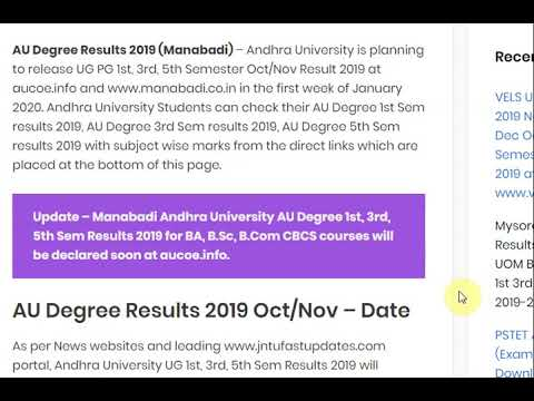 AU Degree Results 2019 (Manabadi), Andhra University UG PG 1st, 3rd, 5th...