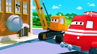 Troy The Train and the Demolition Crane in Car City | Cars & Trucks cartoon for children