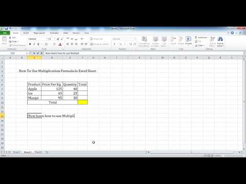 How To Use Multiplication Formula In Excel Sheet