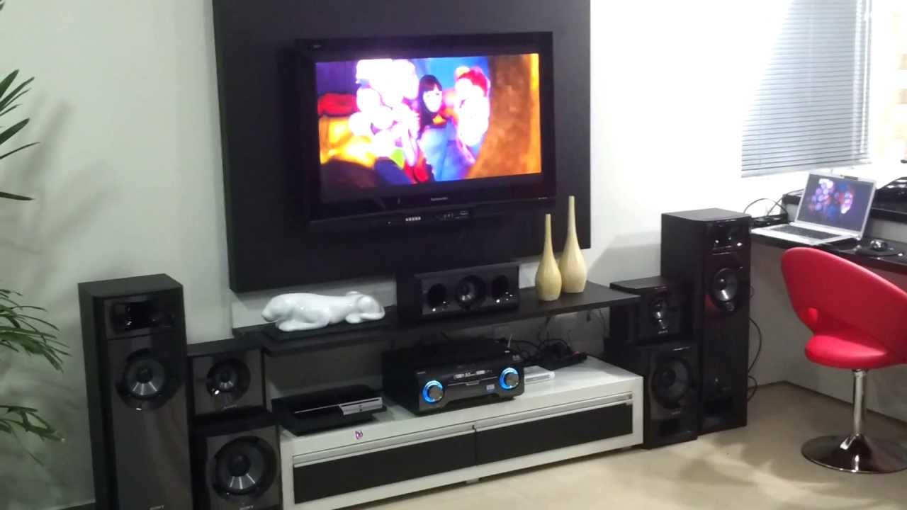 Home theater sony muteki 1200w rms 5 2 canais youtube for Mueble muteki 5 2